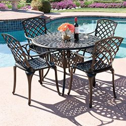 Best Choice Products 42″ 5-Piece Cast Aluminum Patio Outdoor Dining Set – Textured Brown