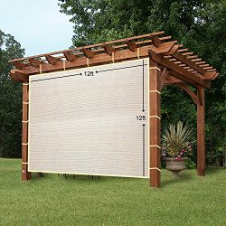 EZ2hang Sun Shade Privacy Panel 3 Sides with Ready-to-tie Ribbon ,Side Shade Wall for Pergola, P ...