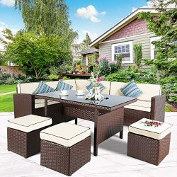 Cloud Mountain 7 PC Patio Wicker Rattan Dining Set Outdoor Garden Lawn Conversation Furniture Se ...