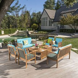 Cape Town Outdoor 8 Piece Brown Patina Acacia Wood Sofa Set with Teal Water Resistant Cushions
