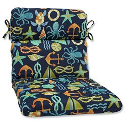 Pillow Perfect Outdoor Seapoint Rounded Corners Chair Cushion, Neptune