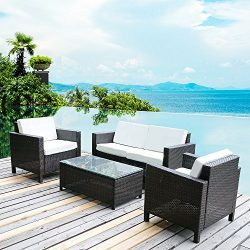 Merax 4 PC Outdoor Rattan Patio Furniture Set PE Rattan Wicker Sofa Set Garden Lawn Sofa with Cu ...
