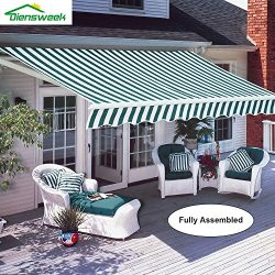 Diensweek 10'x8′ Patio Awning Retractable Manual Commercial Grade, Fully Assembled,1 ...