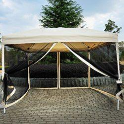 Outdoor Gazebo Canopy 10′ x 10′ Pop Up Tent Mesh Screen Patio Shade tan