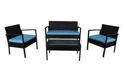 Modern Outdoor Garden, Patio 4 Piece Set – Wicker Sofa Furniture Set (Black / Blue)