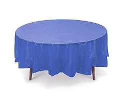 5 PACK, 84″ Royal Blue Round Plastic Table Cover, Plastic Table Cloth Reusable (PEVA) (Roy ...