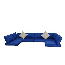 Matching Jetime 7PCs Sofa Set Navy Blue Cushion Cover and Beige Pillow Covers