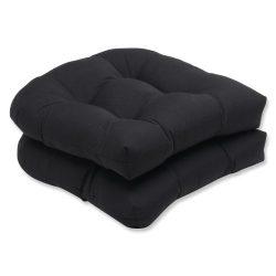 Pillow Perfect Wicker Seat Cushion with Black Sunbrella Fabric, Set of 2