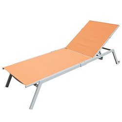 Outdoor Patio Chaise Lounge Chair Adjustable Textilene for Beach Yard, 5 Reclining Positions by  ...