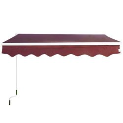 Goplus Manual Patio 6.4'×5′ Retractable Deck Awning Sunshade Shelter Canopy Outdoor  ...