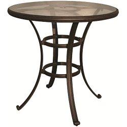 Darlee Cast Aluminum Glass Top Round Bar Table, 42″, Antique Bronze Finish