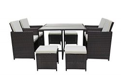 Modern 8 Piece Space Saving Outdoor Furniture Dining Set, Patio Rattan Table and Chairs Set (Bro ...