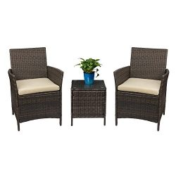 Devoko Patio Porch Furniture Set 3 Piece PE Rattan Wicker Chairs Beige Cushion With Table Outdoo ...