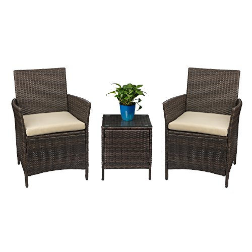 Devoko Patio Porch Furniture Set 3 Piece PE Rattan Wicker Chairs Beige  Cushion With Table Outdoo
