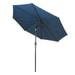 Balichun 9 Ft Outdoor Table Aluminum Patio Umbrella Market Umbrella with Push Button Tilt and Cr ...