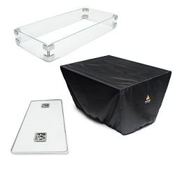 Outland Fire Table 3 Piece Accessory Set of Tempered Glass Lid Insert, Tempered Glass Wind Guard ...