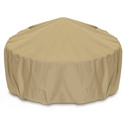 Smart Living 2D-FP48005 Fire Pit Cover With Level 4 UV Protection, 48-Inch, Khaki