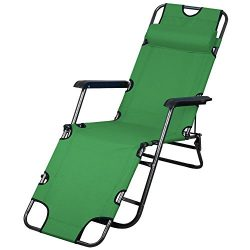 Topeakmart Portable 70inch Chaise Lounge Chair Bed Folding Camping Recliner with Adjustable Pill ...