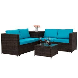 Outdoor Rattan Wicker Sofa Set Garden Patio Furniture with Blue Cushion Seat Set Lawn Storage Table