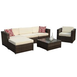 Super Patio 6pc Outdoor Rattan Sectional Furniture Set with Cream White Seat and Back Cushions, Gray