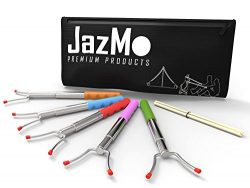 Jazmo Premium Products Marshmallow Roasting Sticks Set of 5 Smores Skewers & Hot Dog Fork 45 ...