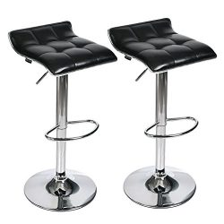 Adjustable Swivel Barstools, PU Leather with Chrome Base, Counter Height Hydraulic Pub Chairs, S ...