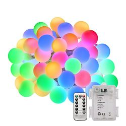 LE 50 LEDs 16.4ft Multi-color Globe String Lights with Remote Control, Battery Powered, Waterpro ...