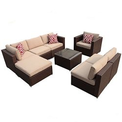 Super Patio 8pc Outdoor Rattan Sectional Furniture Set with Beige Seat and Back Cushions, Alumin ...