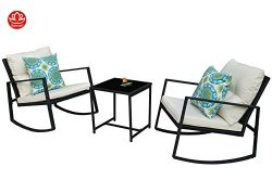 Moana Outdoor 3-piece Rocking Wicker Bistro Set, Two Chairs and One Glass Coffee Table, Black Wi ...
