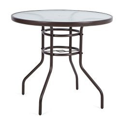 LUCKUP 32″ Patio Outdoor Dining Table Tempered Glass Top Umbrella Stand Round Table, Chocolate