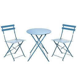 Grand patio Outdoor Bistro Sets, 3-Piece Folding Bistro-Style Patio Table and Chairs Set, Blue