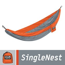 ENO Eagles Nest Outfitters – SingleNest Hammock, Portable Hammock for One, Orange/Grey
