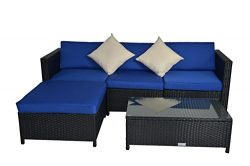 Replacment Cushion Covers Only for Outime Outdoor Rattan Wicker Sofa(5 Piece,Navy)