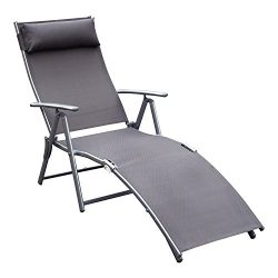 Outsunny Sling Fabric Patio Reclining Chaise Lounge Chair Tri-Folding 5 Position Adjustable Outd ...