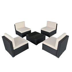U-MAX 7 Piece 7-12 Pieces Patio PE Rattan Wicker Sofa Sectional Furniture Set (5-A Pieces, Black)