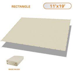Sunshades Depot 11'x19′ Waterproof Rectangle Sun Shade Sail, Beige Straight Edge Can ...