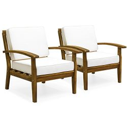 Best Choice Products Set of 2 Outdoor Acacia Wood Club Chairs w/ Cushions (Cream)