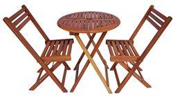 Zen Garden ZG012 Eucalyptus Wood Foldable 3-Piece Round Bistro Set, Teak Wood Finish, Teak Yellow