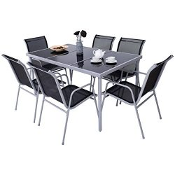 Giantex 7 Pcs Bistro Set Steel Table Chairs Dining Set Patio Furniture with Glass Table Top