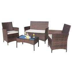 Homall 4 PCS Outdoor Patio Furniture Set Rattan Chair Wicker Set,Outdoor/Indoor Use for Backyard ...
