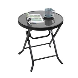 Captiva Designs 18″ Patio Quick Fold Side Table Small Glass Folding Table Outdoor Backyard ...