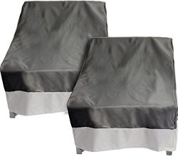 2 Pack Deep Chair Patio Cover – Outdoor Furniture Cover (Dark Grey w/ Grey Trim)