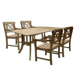 Vifah V1300SET8 Renaissance Rectangular Table and Armchair Outdoor Hand-Scraped Hardwood Dining Set
