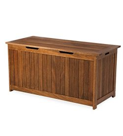 Plow & Hearth 62A37-NT Lancaster Outdoor Furniture Collection Eucalyptus Wood Storage Box, N ...