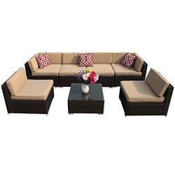 PATIOROMA 7pc Patio Conversation Set, Outdoor PE Wicker Rattan Sectional Furniture Sofa Set with ...