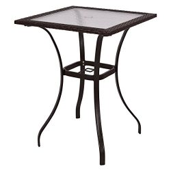 Mix Brown Patio Square PE Rattan Bar Table Glass Top 37″ Height