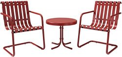 Crosley Furniture Gracie 3-Piece Retro Metal Outdoor Conversation Set with Side Table and 2 Chai ...