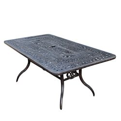 Oakland Living Belmont Aluminum Rectangular Dining Table, 84 by 42-Inch