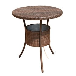 Costway 31.5″ 7.9-Gal Cool Bar Rattan Style Outdoor Patio Party Deck Pool Cooler Table Wit ...