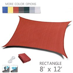 LOVE STORY 8′ x 12′ Rectangle Terra UV Block Sun Shade Sail Perfect for Outdoor Pati ...